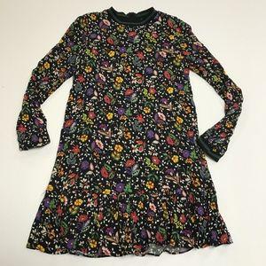 Zara Micro Floral Flower Print Pattern Midi Dress